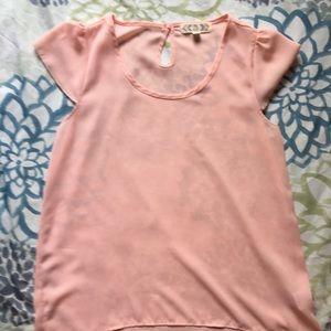 Sheer pink flutter sleeve shirt